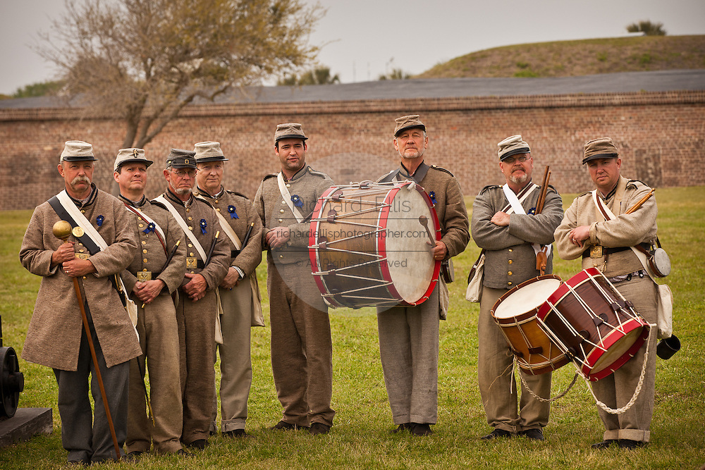 Confederate re-enactors pose for a portrait during events at Fort Moultrie Charleston, SC. The re-enactors are part of the 150th commemoration of the US Civil War.