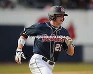 Mississippi's David Phillips hits a home run vs. Louisiana-Monroe at Oxford-University Stadium in Oxford, Miss. on Saturday, February 20, 2010 in Oxford, Miss. Mississippi won.