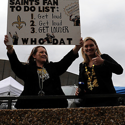 Jan 24, 2010; New Orleans, LA, USA; New Orleans Saints fans outside of the Louisiana Superdome before kickoff of the 2010 NFC Championship game. Mandatory Credit: Derick E. Hingle-US PRESSWIRE
