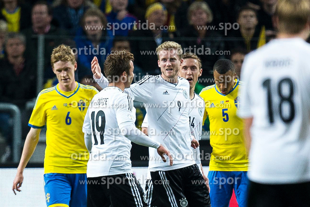 15.10.2013, Friends Arena, Stockholm, SWE, FIFA WM Qualifikation, Schweden vs Deutschland, Gruppe C, im Bild, , Germany 19 Mario G&ouml;tze Gotze and Germany 9 Andr&eacute; Sch&uuml;rrle Schurrle celebrate // after Germany scores it's 4th goal of the evening. goal, m&aring;l, firande, celebration, jubel // during the FIFA World Cup Qualifier Group C Match between Sweden and Germany at the Friends Arena, Stockholm, Sweden on 2013/10/15. EXPA Pictures &copy; 2013, PhotoCredit: EXPA/ PicAgency Skycam/ Michael Campanella<br /> <br /> ***** ATTENTION - OUT OF SWE *****