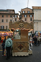 Kiosk at Christmas funfair in Rome Italy