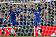 Chelsea midfielder Jorginho (5) and Chelsea midfielder Pedro (11) react after a referee decision during the Champions League match between Chelsea and Valencia CF at Stamford Bridge, London, England on 17 September 2019.