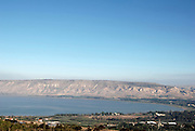 Israel, Galilee, a panoramic view of the Sea of Galilee. The Golan Heights in the background