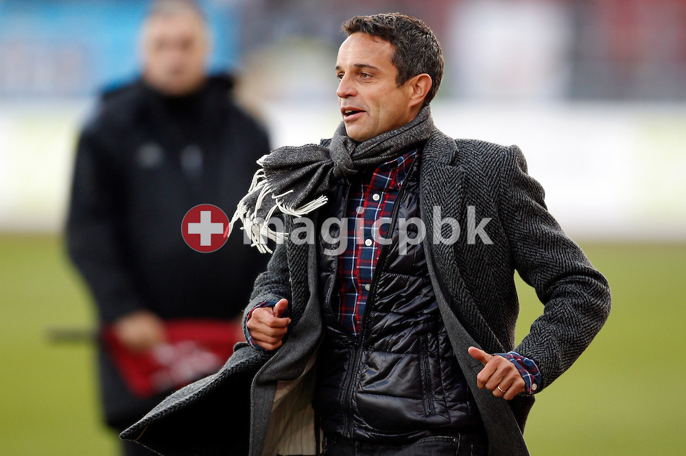 FC Basel vice president Bernhard Heusler on his way to hug head coach ad interim Heiko Vogel (not pictured) to celebrate their victory in the AXPO Super League (National League A) soccer match between FC Zuerich (FCZ) and FC Basel (FCB) at the Letzigrund stadium in Zurich, Switzerland, Sunday, October 23, 2011. (Photo by Patrick B. Kraemer / MAGICPBK)