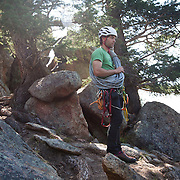 climbing guide Brett Bloxom before a night of cliff camping in Estes Park, Colorado.