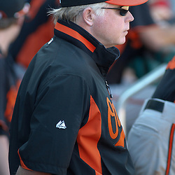 March 7, 2011; Fort Myers, FL, USA; Baltimore Orioles manager Buck Showalter during a spring training exhibition game against the Boston Red Sox at City of Palms Park.   Mandatory Credit: Derick E. Hingle