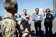 Barbados, 20 Sept 2017. Humanitarian experts from the Department for International Development and the United Nations receive a briefing from Colonel Gareth Walker (left) of the Royal Engineers, ahead of a humanitarian needs assessment mission to Dominica. The Caribbean island of Dominica was devasted  by the category 5 Hurricane Maria on Sept 19th, and the Prime Minister of the country, Roosevelt Skerrit requested emergency international asssitance. The UK already had military aircraft in the region responding to the damaged caused by Hurricane Irma. A Chinook helicopter from 27 Squadron RAF was tasked to take a needs assessment team to the island, made up of expert Royal Engineers, humanitarian experts from DFID and the UN, and members of the Caribbean Disasters &amp; Emergencies Management Agency. The team was the first international assistance to arrive on the island.<br /> <br /> Picture: Russell Watkins/DFID The Caribbean island of Dominica was devasted  by the category 5 Hurricane Maria on Sept 19th, and the Prime Minister of the country, Roosevelt Skerrit requested emergency international asssitance. The UK already had military aircraft in the region responding to the damaged caused by Hurricane Irma. A Chinook helicopter from 27 Squadron RAF was tasked to take a needs assessment team to the island, made up of expert Royal Engineers, humanitarian experts from DFID and the UN, and members of the Caribbean Disasters &amp; Emergencies Management Agency. The team was the first international assistance to arrive on the island.<br /> <br /> Picture: Russell Watkins/DFID