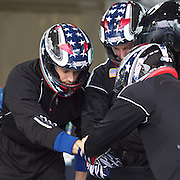 Winter Olympics, Vancouver, 2010. The USA-1 team of Curtis Tomasevicz, Steve Mesler, Justin Olsen and Steven Holcomb (right) prepare for a practice run during the Four-man Bobsleigh competition at Whistler Sliding Centre , Whistler, during the Vancouver Winter Olympics. 25th February 2010. Photo Tim Clayton