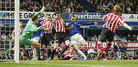 Photo: Aidan Ellis.<br /> Everton v Sunderland. The Barclays Premiership. 01/04/2006.<br /> Everton's James McFadden scores the second for his team