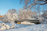 Fresh snow around the Bow Bridge in Central Park.  Manhattan, New York City, New York State, U.S.A.