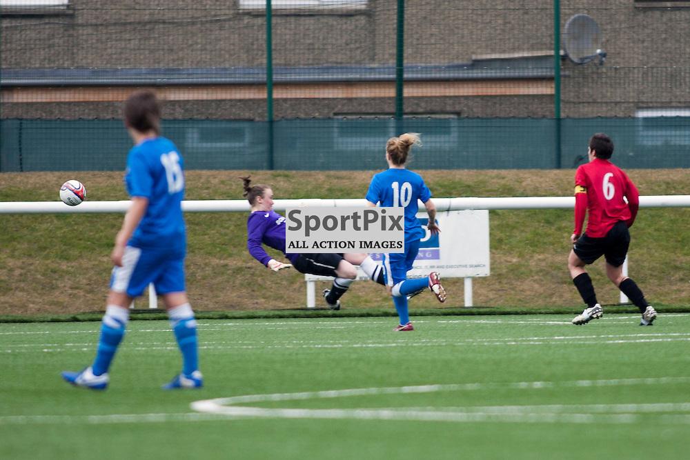 Emma Lyons (Falkirk 6) scores a goal 0-1. Spartans v Falkirk Scottish Women's Premier League Cup Round 1 03 March 2013 (c) Russell Sneddon   StockPix.eu
