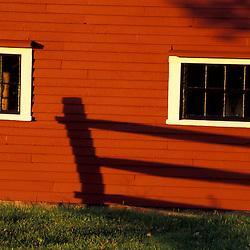 Bolton, MA.  USA.  Windows on the barn on the Schartner Farm in Massachusetts' Nashoba Valley.  Apple orchard.