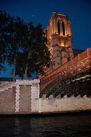 Paris, Notre Dame at night and Seine Bridge