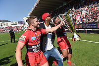Presentation du Trophee aux Supporters / Delon Armitage / Mathieu Bastareaud / Leigh Halfpenny  - 09.05.2015 - Toulon / Castres  - 24eme journee de Top 14 <br />
