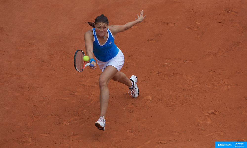 Dinara Safina, Russia, in action against Svetlana Kuznetsova, Russia, during the Women's Singles Final at the French Open Tennis Tournament at Roland Garros, Paris, France on Saturday, June 6, 2009. Photo Tim Clayton