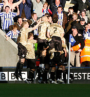 Photo: Steve Bond/Richard Lane Photography. Leicester City v Huddersfield Town. Coca Cola League One. 24/01/2009. Phil Jevons is congratulated