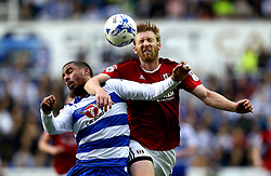Tim Ream of Fulham beats Lewis Grabban of Reading to a header - Mandatory by-line: Robbie Stephenson/JMP - 16/05/2017 - FOOTBALL - Madejski Stadium - Reading, England - Reading v Fulham - Sky Bet Championship Play-off Semi-Final 2nd Leg