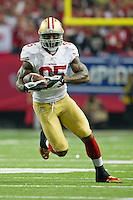 20 January 2013: Tight end (85) Vernon Davis of the San Francisco 49ers catches a pass and runs for a first down against the Atlanta Falcons during the first half of the 49ers 28-24 victory over the Falcons in the NFC Championship Game at the Georgia Dome in Atlanta, GA.
