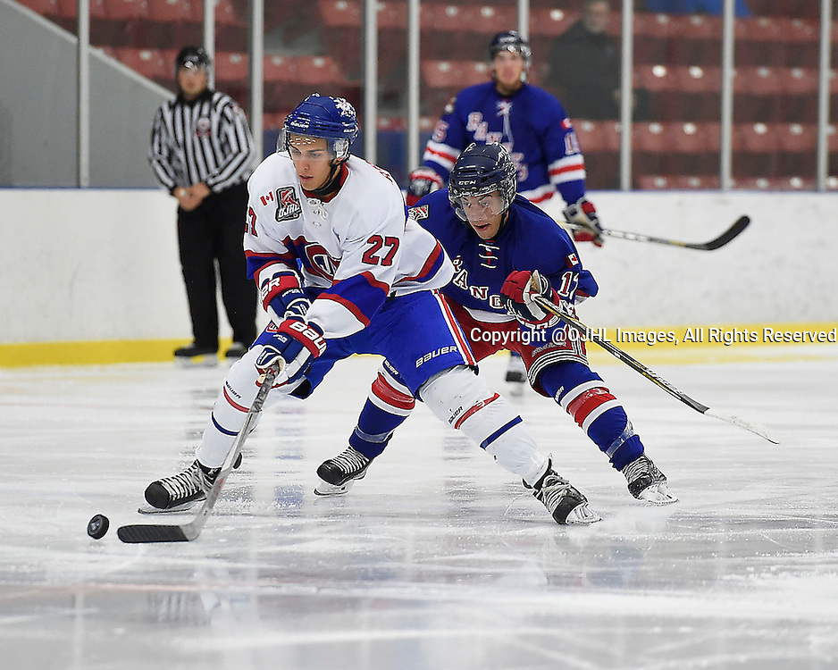NORTH YORK, ON - Sep 13, 2015 : Ontario Junior Hockey League game action between Toronto and North York, Dakota Brancatella #27 of the Toronto Jr Canadiens keeps the puck from Kyle Clarke #12 of the North York Rangers during the second period.<br /> (Photo by Andy Corneau / OJHL Images)
