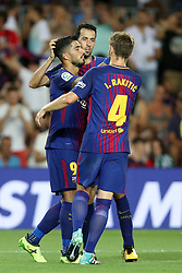 August 7, 2017 - Barcelona, Spain - Luis Suarez of FC Barcelona celebrates with his teammates after scoring a goal during the 2017 Joan Gamper Trophy football match between FC Barcelona and Chapecoense on August 7, 2017 at Camp Nou stadium in Barcelona, Spain. (Credit Image: © Manuel Blondeau via ZUMA Wire)