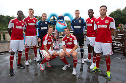 Bristol City's summer signings l-r Jordan Wynter, Aden Flint, Frankie Fielding, Scott Wagstaff, Mitch Brundle, Elliot Parish, Jay Emmanuel-Thomas and Derrick Williams line up for a photo with Gromit at the Avon Gorge Hotel  - Photo mandatory by-line: Kieran McManus/JMP - Tel: Mobile: 07966 386802 31/07/2013 - SPORT - FOOTBALL - Avon Gorge Hotel - Clifton Suspension bridge - Bristol -  Team Photo