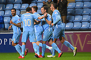 Coventry City midfielder Michael Doyle (8) scores a goal 1-0 and celebrates during the EFL Sky Bet League 2 match between Coventry City and Wycombe Wanderers at the Ricoh Arena, Coventry, England on 22 December 2017. Photo by Alan Franklin.