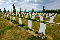 The Villers-Bretonneux Military Cemetery near the Somme in northern France.  There are 2,144 Commonwealth servicemen of the First World War buried or commemorated in this cemetery, 605 of whom remain unidentified.<br /> <br /> (c) Andrew Wilson | Edinburgh Elite media