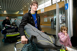 Slovenian ski jumper Peter Prevc and his sister Nika at arrival to Airport Joze Pucnik from Vancouver after Winter Olympic games 2010, on February 24, 2010 in Brnik, Slovenia. (Photo by Vid Ponikvar / Sportida)
