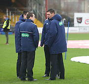 Referee Kevin Clancy (right) inspects the Dens Park pitch - Dundee v Dundee United, Ladbrokes Premiership at Dens Park<br /> <br />  - &copy; David Young - www.davidyoungphoto.co.uk - email: davidyoungphoto@gmail.com