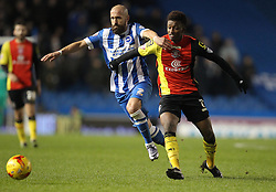 Bruno Saltor of Brighton and Hove Albion and Demarai Gray of Birmingham City challenge for the ball - Mandatory byline: Paul Terry/JMP - 28/11/2015 - Football - Falmer Stadium - Brighton, England - Brighton v Birmingham City - Sky Bet Championship