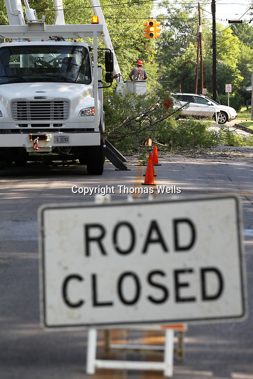 Crews from Tupelo Public Works blocks off a section of North Green Street as they remove an Oak tree between Jeffereson and Franklin Streets. The tree which was planted following the 1936 tornado has reached it's life expectancy and was beginning to die.