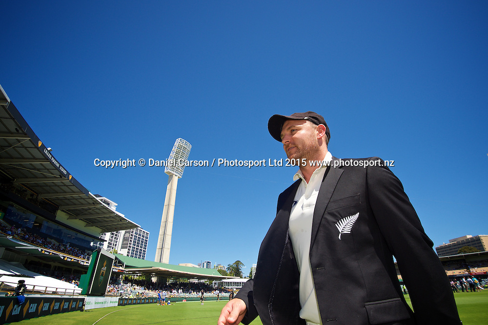 Brendon McCullum (*c) of the New Zealand Black Caps leaves the arena after the coin toss during Day 1 on the 13th of November 2015. The New Zealand Black Caps tour of Australia, 2nd test at the WACA ground in Perth, 13 - 17th of November 2015.   Photo: Daniel Carson / www.photosport.nz