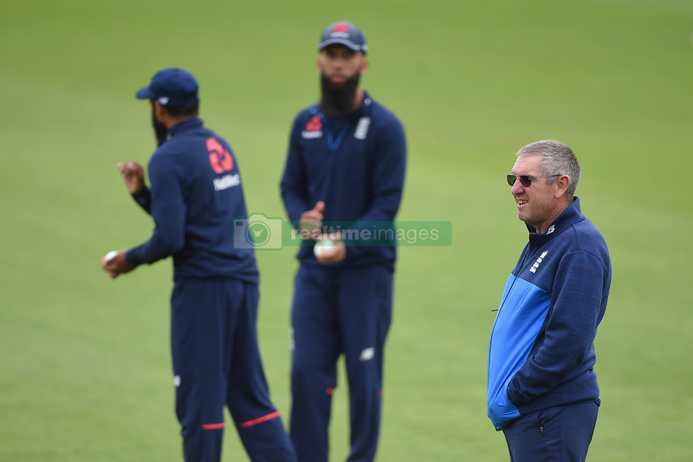England head coach Trevor Bayliss during the nets session at Cardiff Wales Stadium.