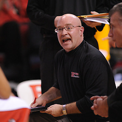 Jan 31, 2009; Piscataway, NJ, USA; Rutgers head coach Fred Hill gives instructions to his team during a time out in the second half of Rutgers' 75-56 victory over DePaul in NCAA college basketball at the Louis Brown Athletic Center