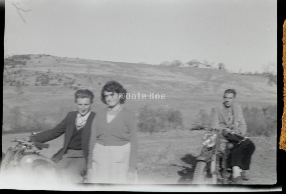 blurry snapshot during a motorcycle trip 1950s France Languedoc