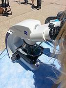 Optical microscope at a science fair. Photographed in Haifa, Israel