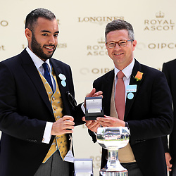 Winning trainer Roger Varian (right) after Daahyeh won the Albany Stakes during day four of Royal Ascot at Ascot Racecourse. Photo : Icon Sport