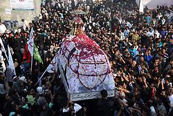 November 2, 2018 - Allahabad, Uttar Pradesh, India - Shia Muslims take part in ''72 Taboot'' procession during Muharram month in Allahabad.  (Credit Image: © Prabhat Kumar Verma/Pacific Press via ZUMA Wire)