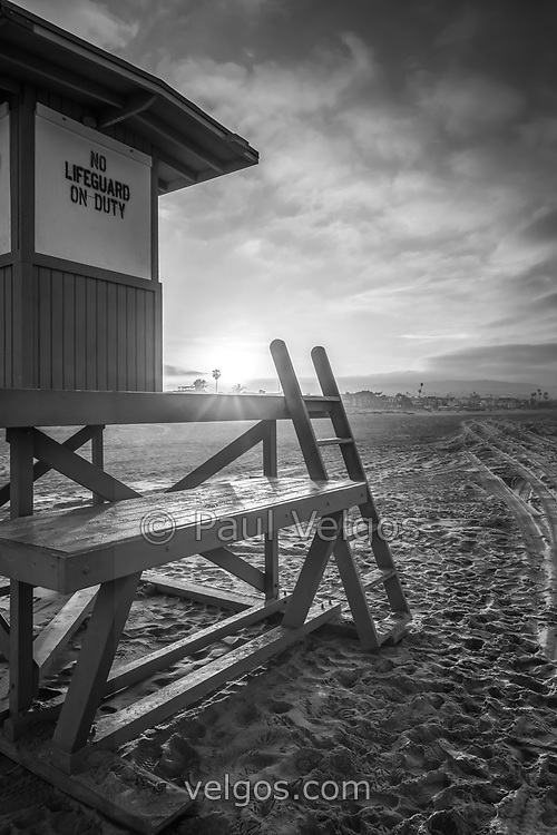 Lifeguard tower B Newport Beach black and white picture. Newport Beach is a popular beach city Orange County Southern California. Photo is high resolution. Copyright ⓒ 2017 Paul Velgos with All Rights Reserved.