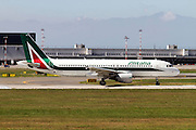 Alitalia Airbus A320-216. Photographed at Malpensa airport, Milan, Italy