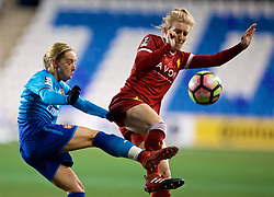 WIDNES, ENGLAND - Wednesday, February 7, 2018: Liverpool's Laura Coombs and Arsenal Ladies' Leah Williamson during the FA Women's Super League 1 match between Liverpool Ladies FC and Arsenal Ladies FC at the Halton Stadium. (Pic by David Rawcliffe/Propaganda)