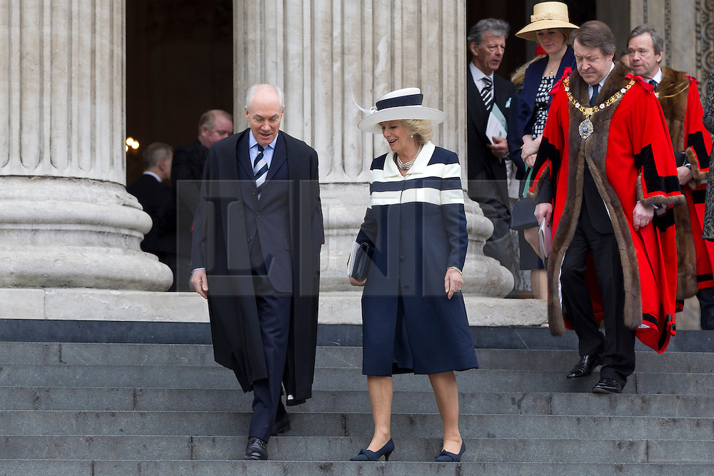 © Licensed to London News Pictures. 22/05/2013. London, UK. The Duchess of Cornwall is seen as she leaves St Paul's Cathedral in London today (22/05/2013) after attending a service of thanksgiving to celebrate the 75th anniversary of the Royal Voluntary Service (RVS). The RVS, previously known as the Women's Royal Voluntary Service (WRVS), is a charity organisation that helps older people live independent lives across Great Britain. Photo credit: Matt Cetti-Roberts/LNP