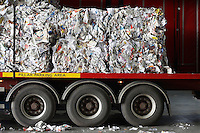 Stacks of recycled paper in lorry