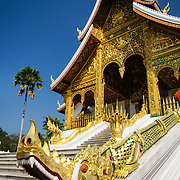 The main stairs at Haw Pha Bang (or Palace Chapel) at the Royal Palace Museum in Luang Prabang, Laos. The chapel sits at the northeastern corner of the grounds. Construction started in 1963.