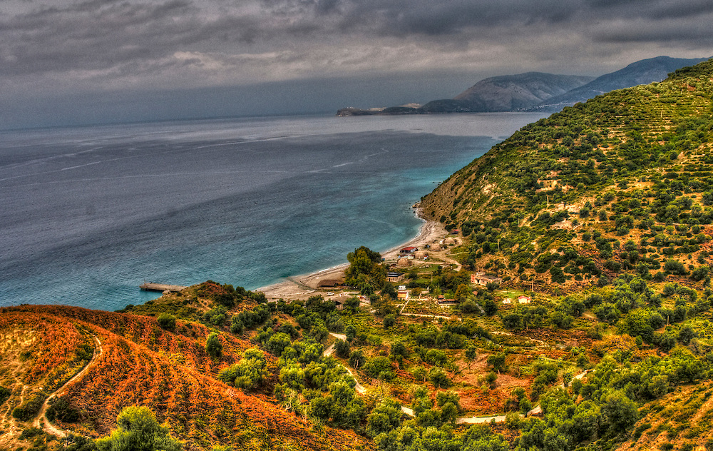 Sea shore with bunkers in Albania