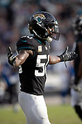Jacksonville Jaguars outside linebacker Telvin Smith (50) waves his arms during the NFL week 13 regular season football game against the Indianapolis Colts on Sunday, Dec. 2, 2018 in Jacksonville, Fla. The Jaguars won the game in a 6-0 shutout. (©Paul Anthony Spinelli)