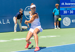 August 5, 2018 - San Jose, CA, U.S. - SAN JOSE, CA - AUGUST 05: Mihaela Buzarnescu (ROU) places a backhand during the WTA Singles Championship at the Mubadala Silicon Valley Classic  at the San Jose State University Stadium Court in San Jose, CA  on Sunday, August 5, 2018. (Photo by Douglas Stringer/Icon Sportswire) (Credit Image: © Douglas Stringer/Icon SMI via ZUMA Press)