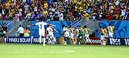 Costa Rica players celebrate their goal during the 2014 FIFA World Cup match at Itaipava Arena Pernambuco, Recife metropolitan area<br /> Picture by Stefano Gnech/Focus Images Ltd +39 333 1641678<br /> 20/06/2014