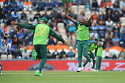Andile Phehlukwayo of South Africa appealing for the wicket of Rohit Sharma during the ICC Cricket World Cup 2019 match between South Africa and India at the Hampshire Bowl, Southampton, United Kingdom on 5 June 2019.