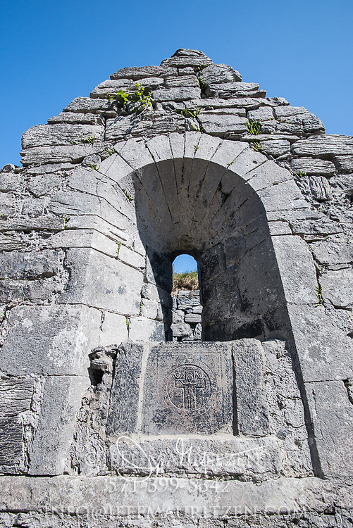 "Saint Caomhan's church or the ""sunken church"" at Inisheer, (Inis Oirr), County Galway, Ireland."